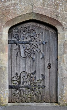 Iglesia, Meare, Somerset, Inglaterra de Santa María   bisagras medieval c.1323