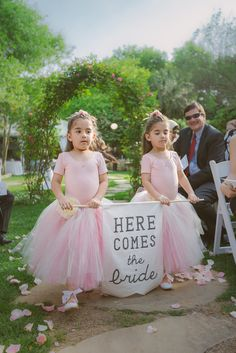 Cute flower girl 'here comes the bride' sign. I would still want a flower girl in the front of these two beauties.dropping petals on the ground :) Wedding Ceremony Ideas, Wedding Signs, Wedding Bells, Ceremony Signs, Trendy Wedding, Diy Wedding, Wedding Photos, Dream Wedding, Wedding Day