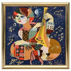 Mid-Century Bjorn Wiinblad Inspired Needlpoint in Frame For Sale at Folk Embroidery, Learn Embroidery, Floral Embroidery, Embroidery Patterns, Modern Tapestries, Picasso Art, Pablo Picasso, Stitch Witchery, Needlepoint Canvases