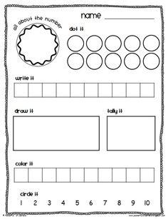 math center K - numbers 1-10 worksheet