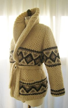 Cozy Chic Hand-Knit Mexican Sweater in Cream by Mexchic-loom knitted I lived in one of these in high school circa 1972
