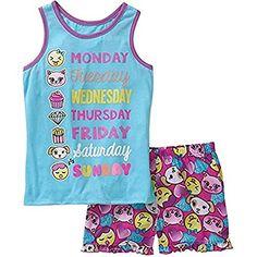 41af8798200 Girls  Graphic Weekday Pajama sleep tank and short 2 piece pajama set