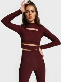 Buy Missguided Burgundy Ribbed Cut-Out Crop Top for Women Online in India Tops Online Shopping, Crop Tops Online, Burgundy Crop Top, Athleisure Trend, Missguided, Street Wear, India, Stylish, Long Sleeve