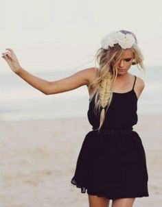 hipster hipsters girl girls flower headband ocean beach water sea clothing clothes fashion style grunge braids braid hair hair styles dress black dress