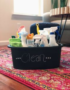How To Create A Perfectly Stocked Cleaning Caddy - Organized-ish by Lela Burris Cleaning Caddy, Speed Cleaning, Household Cleaning Tips, Cleaning Hacks, Weekly Cleaning, Cleaning Lists, Cleaning Schedules, Cleaning Checklist, Chore List For Kids