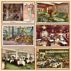 Vintage postcards of US Tea Rooms - from top left: Prince George Hotel Tea Room in New York City, Blue Parrot Tea Room in Gettysburg, PA then below left: Grand Crystal Tea Room in Wanamaker Stores, Philadelphia, PA and Japanese Tea Room in the Congress Hotel in Chicago, IL. Last row: Frederick and Nelson Store Tea Room in Seattle, WA and the Danish Tea Room in Portland, Maine.