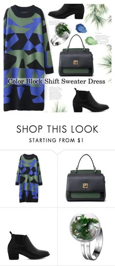 """""""Color Block Shift Sweater Dress"""" by meyli-meyli ❤ liked on Polyvore featuring casual, GREEN, Boots, colorblock and rosegal"""