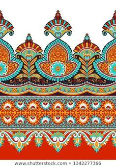 Boarder Designs, Border Embroidery Designs, Border Pattern, Lace Border, Border Print, Textile Prints, Textile Design, Textiles, Flower Art Images