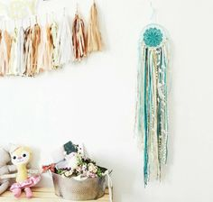 Teal and Gold Dreamcatcher,Crocheted dreamcatcher, Wallhanging,Wall art, Home decorating,Wedding gifts,Yarn art - pinned by pin4etsy.com