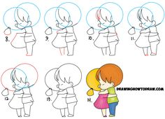 Learn How to Draw Chibi / Kawaii / Cute Girl and Boy Hugging - Drawing Cute Hugs in Simple Step by Step Drawing Tutorial