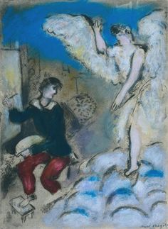 Marc Chagall - L'Apparition 1924–5–c.1937 Etching, aquatint, gouache and pastel on paper