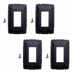4 Switchplate Black Steel SIngle GFI RSF