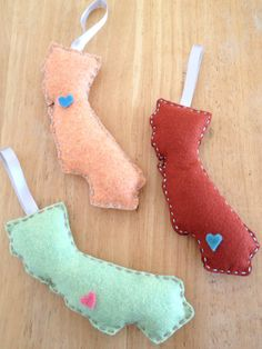 California Love Christmas Ornament - Cantaloupe/Baby Blue Floss & Heart