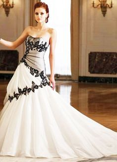 wedding dresses with black accents - Google Search