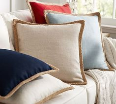Idea for Pillows on Living Room Couch - Jute Braid Pillow Cover Velvet Pillows, Decorative Pillows Couch, Large Sofa Pillow Covers, Extra Large Couch Pillows, Pottery Barn Pillows, Pillows, Large Couch Pillows, Fish Pillow, Pillow Covers