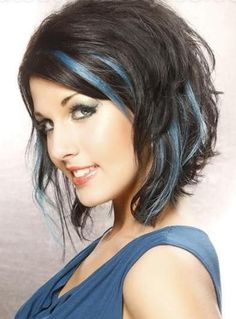 medium length hairstyles with blue highlights | Medium-Haircut-with-Blue-Highlights.jpg