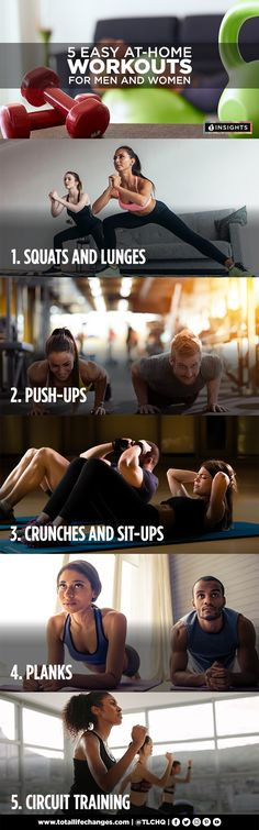 Easy and convenient at home workouts! Home Workout Men, Easy At Home Workouts, Squats And Lunges, Crunches, Circuit Training, Strength Training, Gym Membership, Get In Shape, Build Muscle