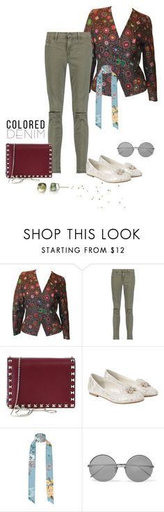 """""""Jungle green denim jeans"""" by annacullart ❤ liked on Polyvore featuring Guy Laroche, J Brand, Valentino, Monsoon, River Island, Linda Farrow, Pomellato, contestentry and coloredjeans"""