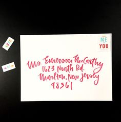 Brush Envelope Calligraphy - A must have for wedding invitations. Loving this style and color by Wanderlove Press Co.