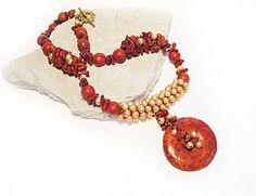Coral & Pearl necklace Red Orange Pendant Big Statement by FestiJe, $117.00