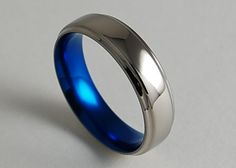 Mens Titanium Wedding Ring , Neptune Band in Nightfall Blue with Comfort Fit on Etsy, $110.00