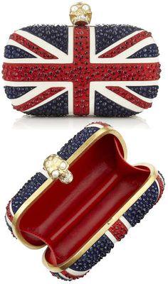 Alexander McQueen Crystal Britannia Skull Box Clutch@Anne Esquibel