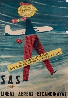 """SAS - """"el español de noche"""" - Barcelona-Copenhagen en 4h y 40mn - 1950's - ("""