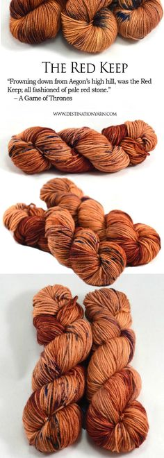 Hand-dyed, worsted weight, 100% Superwash Merino wool yarn inspired by The Game of Thrones / A Song Of Ice And Fire series. For knitting, crochet, and DIY crafts!