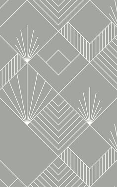 Create a bespoke space inspired by the Art Deco trend with this grey geometric lines wallpaper, a fresh feature design. Arte Art Deco, Motif Art Deco, Estilo Art Deco, Art Deco Pattern, Wallpaper Art Deco, Lines Wallpaper, Luxury Wallpaper, Pattern Wallpaper, Wall Decor Design