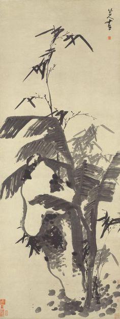 """Zhu Da(朱耷) or Bada Shanren(八大山人) ,   芭蕉竹石图 故宫博物院. 大花鸟画最突出特点是""""少"""",用他的话说是""""廉""""。少,一是描绘的对象少;二是塑造对象时用笔少。如康熙三十一年所作《花果鸟虫册》,其《涉事》一幅,只画一朵花瓣,总共不过七、八笔便成一幅画。在八大那里,每每一条鱼,一只鸟,一只雏鸡,一棵树,一朵花,一个果,甚至一笔不画,只盖一方印章,便都可以构成一幅完整的画面,可以说少到不可再少了的程度。前人所云""""惜墨如金"""",又说""""以少少许胜多多许""""."""