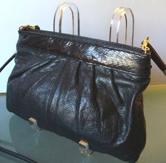 Vintage Napa Leather Clutch Bag with Dark Brown by TheOldBagOnline, $36.99