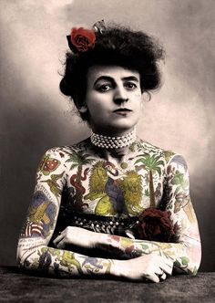 Antique Vintage Photo Tattooed Woman Sideshow Circus Printable