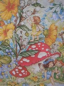 Vintage fairy gift wrapping paper, vintage gift wrap, pixies, flower fairies