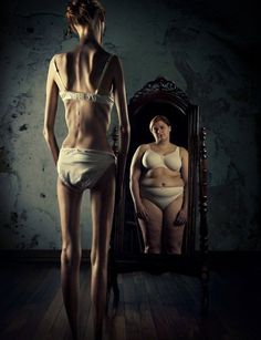 Do you see what I see?  Anorexia or anorexia nervosa is self-imposed starvation, with an obsessive desire to be thin. This desire is often accompanied by a highly distorted body image. In other words, dieting and exercising continue even as the anorexic's weight drops well below the norm. NIMH says anorexics frequently think they are fat despite all evidence to the contrary.
