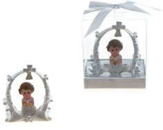 Toddler in White Praying Under a Cross Poly Resin - Pink Case Pack 48