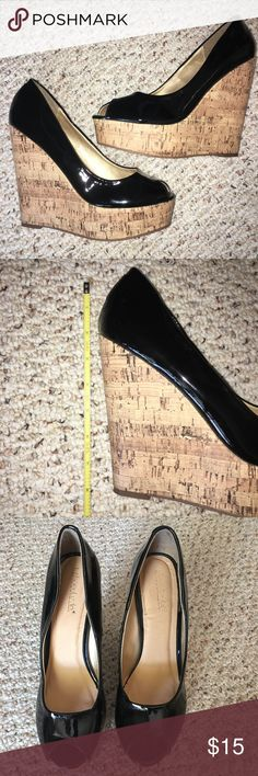 Black Peep Toe Pumps Black prep toe pumps from Shoe Dazzle. Size 9.5. Gently used. Black is patent leather and wedge is cork. Shoe Dazzle Shoes Wedges