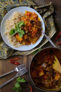 Roasted Eggplant and Mushroom Curry