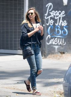 Casual look: Actress Elizabeth Olsen went for a relaxed look while out in West Hollywood on Wednesday