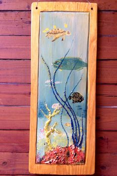 """Sea turtle and tropical fish painting 40"""" x 17"""" 3D art on reclaimed pine wood flooring. Beach home decor colorful coral reef wall hanging by oceanarts10 on Etsy"""