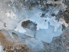 THE CRAWDAD HOLE- A STUDY IN ICE- FROM A PHOTO TAKEN BY ROBIN WILLIAMS- CREATED BY ELLEN BOUNDS