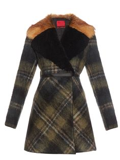 Shearling and fur-collar mohair-blend coat | Moncler Gamme Rouge | MATCHESFASHION.COM