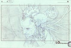 A bunch of gorgeously detailed layouts and some genga from the Ghost in the Shell movie(1995). A lot of it drawn by Mitsuo Iso himself, but also work by Hiroyuki Okiura, and Toshiyuki Inoue.