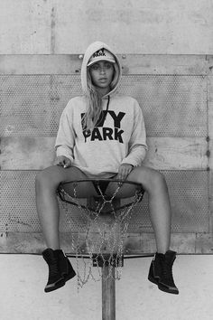 There is no way to sit cute on a basketball goal...but Beyoncé, girl I see you!!