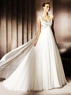 A-Line Ball Gown Scoop Empire Non-Strapless Tank Chiffon Elastic Silk-like Satin Wedding Dress