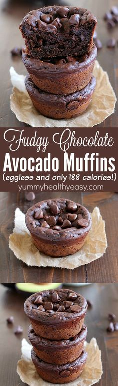 Fudgy Chocolate Avocado Muffins | Yummy Healthy Easy | only 188 calories so you feel like you're eating dessert for breakfast! Hint: you can't taste the avocado at all!