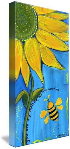 """You Are My Sunshine"" by Lee Owenby, Paris, Tennessee // Golden sunflower on a field of blue with a friendly bumble bee. // Imagekind.com -- Buy stunning fine art prints, framed prints and canvas prints directly from independent working artists and photographers."