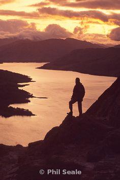 Sunset over Loch Katrine from Ben An, Scotland