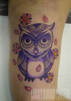LUCKY ROUND TATTOO, Osaka Japan / Purple Owl Tattoo #tattoo #owl #color