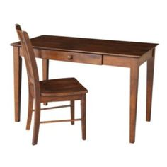 Home Office Desk With Chair, Brown