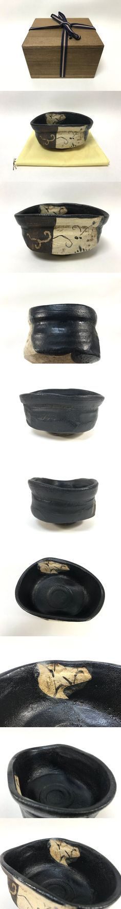 Buyee - Bid for '【宝】茶道具・味わいのある黒織部沓形茶碗・桐箱付, Oribe, Mino, Japanese Pottery' directly on Yahoo! Japan Auctions in real-time and buy from outside Japan!
